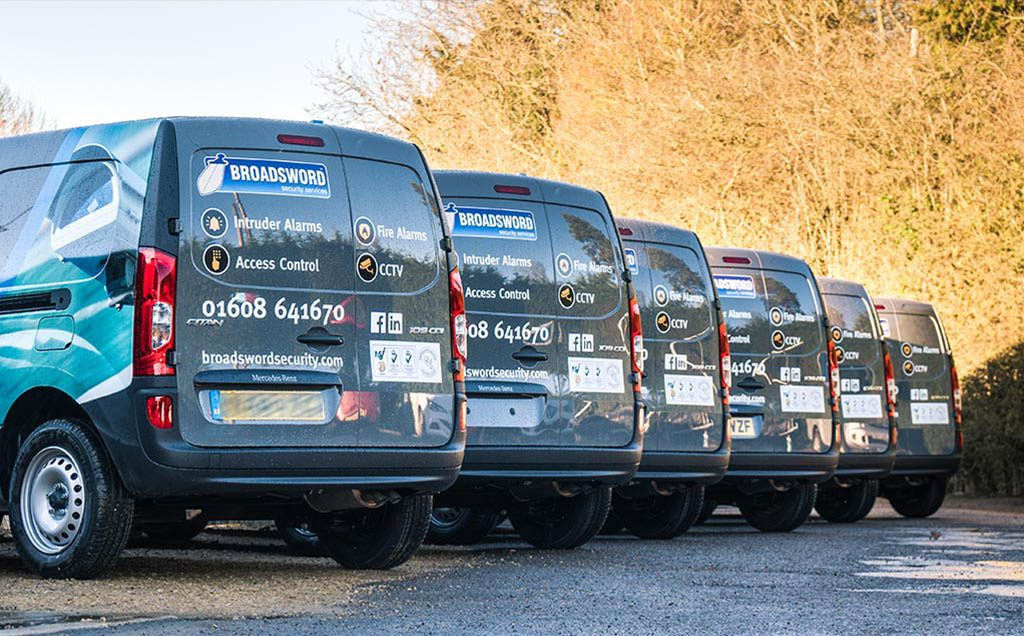 Fleet of wrapped vans
